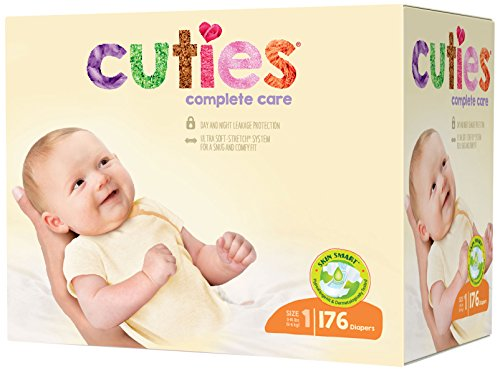 Cuties Complete Care Baby Diapers - Size 1 (176 Count)