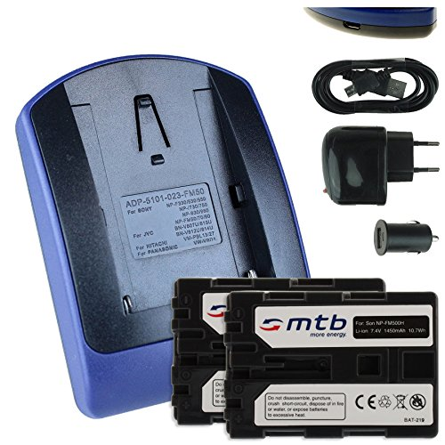 2 Baterìas + Cargador (USB/Coche/Corriente) FM500H para Sony DSLR Alpha A300 A350./...