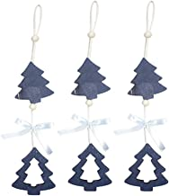 3 Pcs Christmas Hanging Decoration Accessories Christmas Tree Bead Bow Wooden Pendants