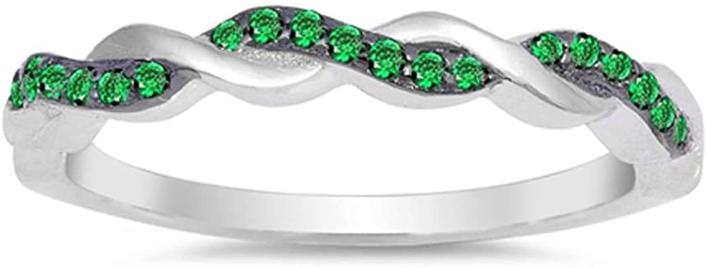 Sterling Silver Simulated Gemstone Band Max 42% OFF Inifinity Twisted Prong High order
