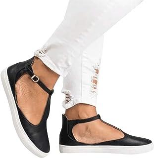 Alaso Espadrilles Femme Pas Cher Été Chaussures Plates Bride Cheville à Boucle en Cuir Métallisé Slip-on Shoes Casual Loaf...
