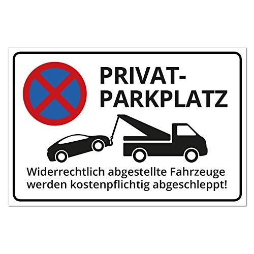 Schild Privatparkplatz, Alu, 30 x 20 cm, 3 mm Stärke, inkl. Lochbohrung, witterungsfest + UV-Schutz, Parken verboten, widerrechtlich abgestellte Fahrzeuge Werden kostenpflichtig abgeschleppt!