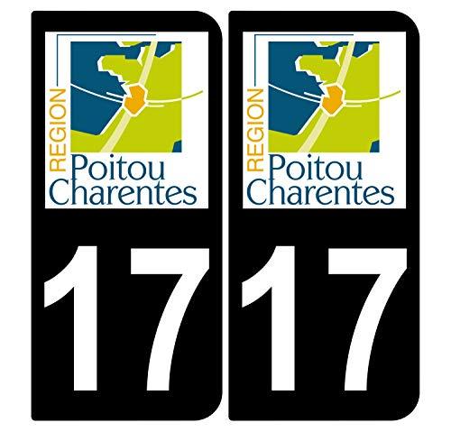 Supstick 2 stickers, zelfklevend, nummerborden, voor auto, Dept 17, Poitou Charentes zwart, afgeronde hoeken