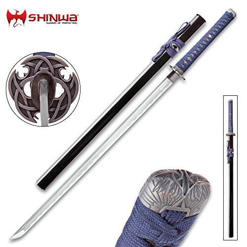 Shinwa Blue Knight Handmade Katana/Samurai Sword - Hand Forged Damascus Steel, More Than 1,000 Layers - Distinctive Custom Cast Tsuba - Faux Ray Skin - Functional, Battle Ready, Full Tang
