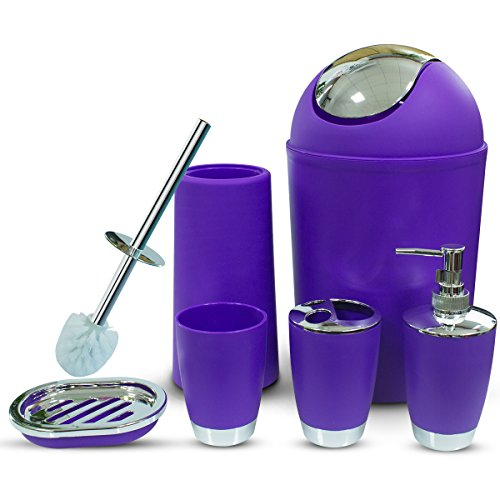 besaset Bathroom Accessories Set 6 Pieces Plastic Bathroom Accessories Toothbrush Holder, Rinse Cup, Soap Dish, Hand Sanitizer Bottle, Waste Bin, Toilet Brush with Holder (Purple)