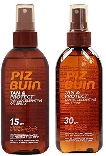 Piz Buin bronzage accélération huile pulvérisateur (paquet de 2) F15 x 1 + F30 x 1 - 150ml chaque
