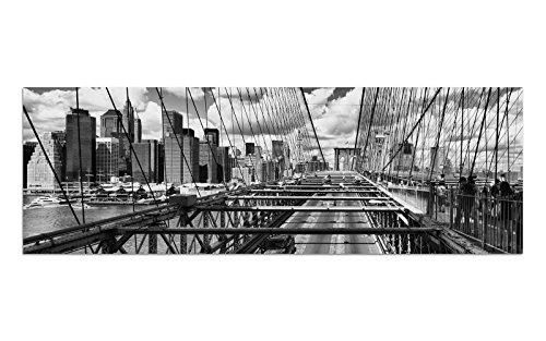 KD Dsign+ Glasbild BILD AG39000616 WandMotiv BROOKLYN NYC S/W Größe 90 x 30 cm inkl. Aufhängesystem (Haftbleche)