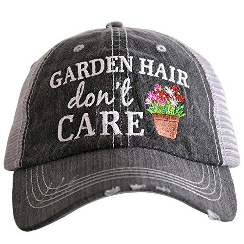 KATYDID Garden Hair Don't Care Baseball Cap - Trucker Hat for Women - Stylish Cute Sun Hat Gray