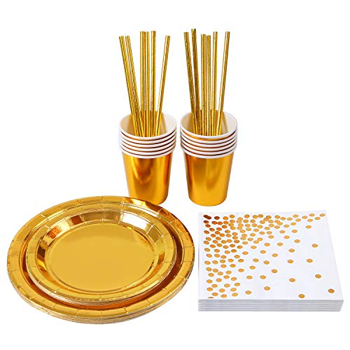 Aneco 72 Pieces Gold Party Supplies Party Tableware Foil Paper Plates Napkins Cups Straws for Party, Weddings, Anniversary, Birthday for 12 Guests
