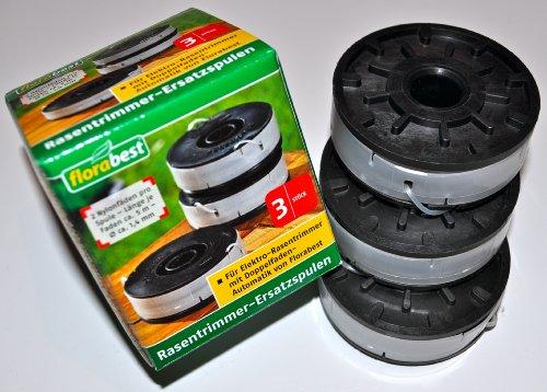 3 Stück Spule Rasentrimmer Ersatzspulen FRT 450 A1, FRT 430/10, FRT 430, FRT 500/8 mit Doppelfaden-Automatik