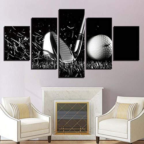 JIAORLEI Modular Canvas Frame Decor Wohnzimmer 5 Stück Golfball Schwarz-Weiß-Malerei Home Modern Hd Print Poster Bilder Wandkunst-Rahmenlos