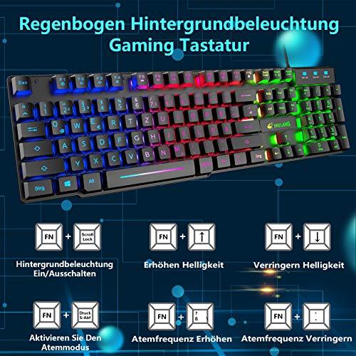 Gaming Tastatur Und Maus Set, QWERTZ German Layout Regenbogen LED Hintergrundbeleuchtung Ergonomische Keyboard 6 Tasten 2400 DPI Maus und Mauspad, USB Verkabelt, Kompatibel mit PS4 XBox, Schwarz