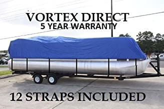 NEW BLUE 24 FT VORTEX ULTRA 5 YEAR CANVAS PONTOON/DECK BOAT COVER, ELASTIC, STRAP SYSTEM, FITS 22'1