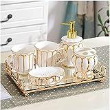 Dispensador de jabón para ducha dorada Cerámica de 6 piezas...