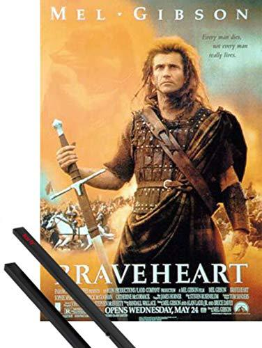 1art1 Braveheart Poster (98x68 cm) Mel Gibson, Sophie Marceau von Mel Gibson Inklusive EIN Paar Posterleisten, Schwarz