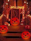 Decoración de Halloween KüRbis hinchable farol de 0,5 m grande con cambio de color LED iluminado y mando a distancia, decoración para el otoño, resistente al agua, lámpara fría para jardín y exterior