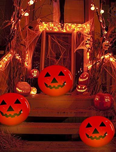 Halloween KüRbis Deko, Aufblasbar KüRbis Laterne 0,5m Groß, KüRbis Windlicht mit Farbwechsel Led Beleuchtet und Fernbedienung, Herbstdeko KüRbis Dekoration, Wasserdicht KüRbis Lampe für Garten Außen