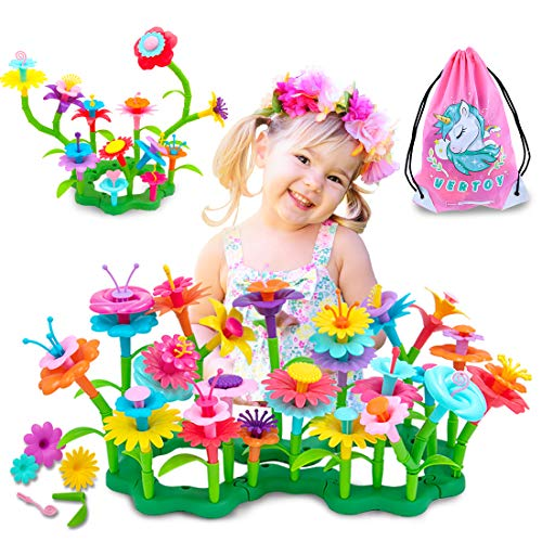VERTOY Gifts for 3 4 5 6 Year Old Girls, Flower Garden Building Toys Set for Toddlers, STEM Preschool Activities and Gardening Pretend Playset, Stacking Game for Age 3+ Little Kids