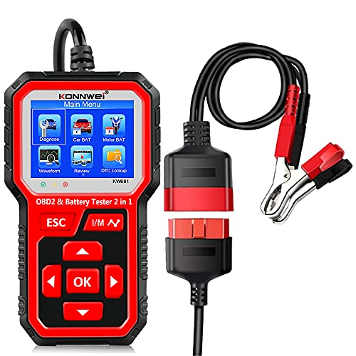 KONNWEI KW681 OBD2 Diagnosegerät 6V 12V Autobatterietester, 2 in 1 Autodiagnosescanner Kfz Batteriegenerator Lasttester Motorcode Lesegerät