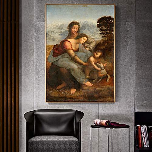 Sin Marco La Virgen y el Niño con Santa Ana Famoso Arte Reproducciones en Lienzo Reproducciones ardo Da Vinci Arte de la Pared Impresiones en Lienzo Decoración 60x90cm sin Marco