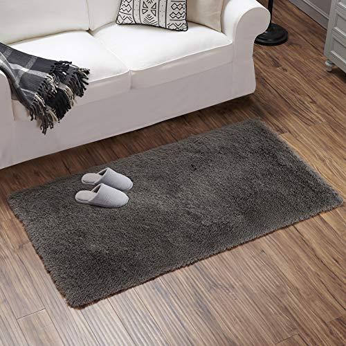 Teppich Wölkchen Hochflor-Plüsch-Teppich I Wohnzimmer Kinderzimmer Schlafzimmer Flur Läufer I rutschfeste Unterseite I 80 x 150- Dunkelgrau