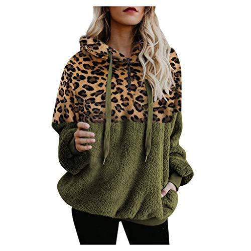 ACEBABY Sudadera Mujer Estampado de Leopardo Jersey con Capucha Cosido Manga Larga Irregular Casual Suelto Adecuado para Fiestas de Otoño e Invierno