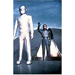 Gort the robot and Klaatu (Michael Rennie) emerging from their flying saucer in The Day the Earth Stood Still