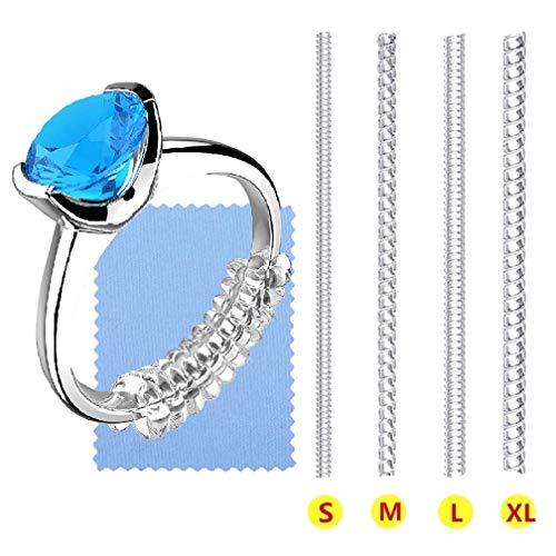 SOONPAM Ringverkleinerer Ring Größenversteller Unsichtbar Ringgrößeneinsteller Spiraleinsatz Invisible Strip Size Adjuster Perfekt für Alle Größen Lose Ringe mit Silbernem Poliertuch (4 Größen)