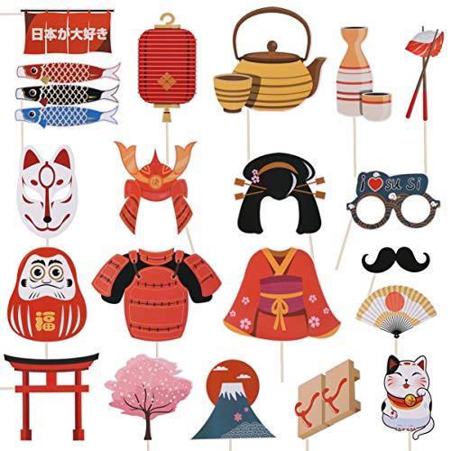 PRETYZOOM 20 unidades de accesorios de fotos japoneses para fiestas de cumpleaños, Halloween o Navidad