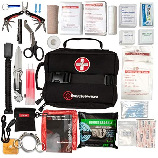 Surviveware Survival First Aid Kit for Outdoor Preparedness - Comes with Removable MOLLE Compatible System and Labeled… 4