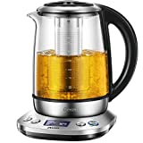 Electric Tea Kettle, Decen 1.7L Variable Temperature Electric Kettle, Fast Boil Glass Water Kettle with 2Hr Keep Warm Function, Premium Stainless Steel BPA-Free, Boil-Dry Protection, 1200W