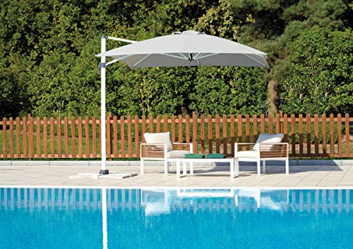 Grupo Maruccia sombrilla jardín Cuadrado Poste Lateral Blanco y Cobertura Blanca 3 x 3 Metros