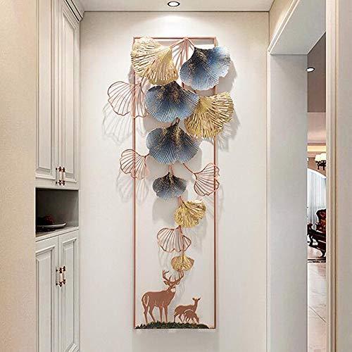 TTIK Wandbild Metallbild 3D-Bild, Kreative Handgemachte Blätter Wanddekoration Moderner Luxus Wandkunst Für Wohn- Und Schlafzimmer 130X56cm