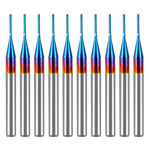 CYLBAQ AlTiN Schaftfräser, 10 Stück, 0,5 mm Hartmetall-Schaftfräser, Super Nano blau beschichtet, Frässchneider, CNC-Frässtifte für PCB-Maschine, 1/8-Zoll-Schaft
