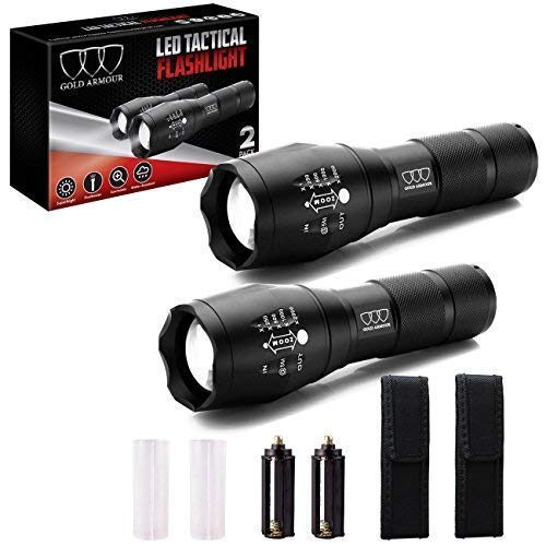 2 Pack Led Tactical Flashlight - High Lumen, Zoomable, 5 Modes, Water Resistant, Handheld Light with Holster - Best Camping, Outdoor, Emergency, Hurricane Best Flashlights