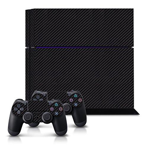 kwmobile Sticker Set kompatibel mit Playstation 4 - Aufkleber Konsole und Aufkleber für 2 Controller Carbon Schwarz