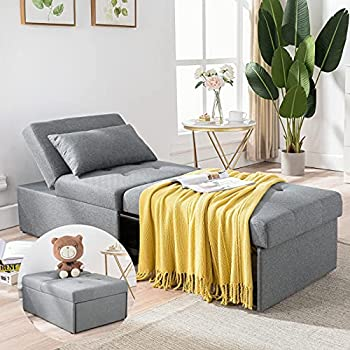 Cozy Castle Sofa Bed 4 in 1 Convertible Sleeper Chair Chaise Lounger Indoor Ottoman Bed Couch for Living Room Liner Fbric Light Gray