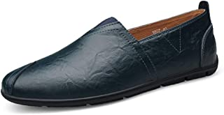 XinQuan Wang Man Driving Loafer Casual OX Leather Soft Sole Round Toe Shoes Front Elastic Belt Small Size36 Leisure Boat Moccasins (Color : Blue, Size : 9 UK)
