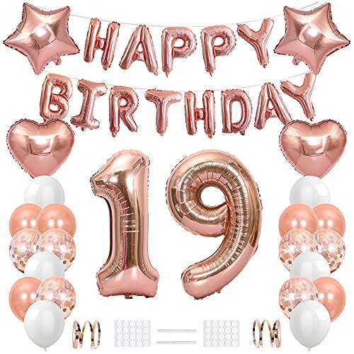 Xihuimay - Palloncino decorativo per 19° compleanno, per festa di compleanno, 19 anni, palloncini a elio, con numero 19 palloncini in lattice, con stella a cuore, colore: oro rosa