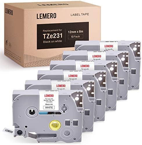 LEMERO Compatible with P Touch Label Maker Tape TZe 231 TZe231 Tape 12mm 0 47 Laminated White product image