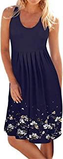 Women Casual Pleated Losse Summer Solid Sleeveless Scoop Neck T-Shirt Midi Tank Dress Sundress (XL, Navy-2)
