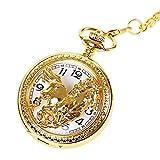 YXDEW Reloj de Bolsillo de la Cadena Vintage, Encanto Oro Unisex Anime numerales Romanos Reloj de Bolsillo Steampunk Bolsillo Reloj Mujer Hombre Collar Colgante con Reloj de Cadena Regalos Punk Retro