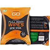 HyperGo Full Body Wipes, 20-Count (1 Pack) Unscented  Cleansing Wipes for Quick Refresh, Large 12 x 12 Biodegradable Wipes, All-Natural Ingredients, Bathing Wipes for Fitness, Camping and More