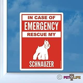 in Case of Emergency Rescue My Schnauzer Sticker Vinyl Auto Window #2 Dog Safety v2