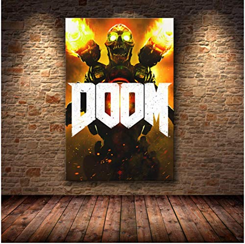 WDQFANGYI Game Poster Canvas Prints Classic Halo Video Games The Ultimate Doom Painting Wall Art Pictures For Living Room Home Decor 50X70CM (FLL4974)