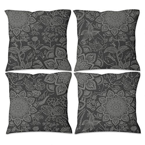 Gamoii Fundas de cojín decorativas de lino con diseño de plantas tropicales, juego de 4 fundas de cojín con cremallera, para decoración del hogar, color blanco, 45 x 45 cm