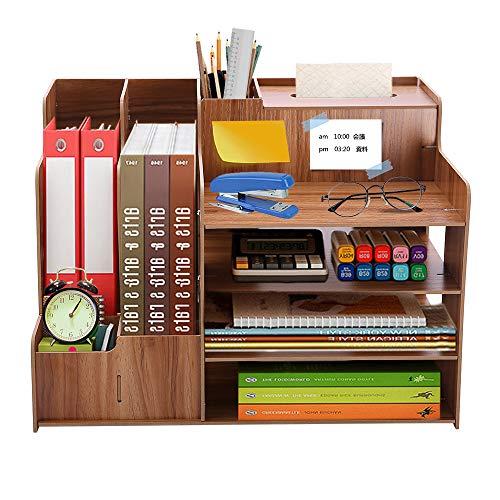 KAMA BRIDAL デスク上置き棚 卓上収納ケース 机上収納ボックス スオフィス収納 卓上収納 本立て 小物収納 書類整理 大容量 事務用品 仕切り
