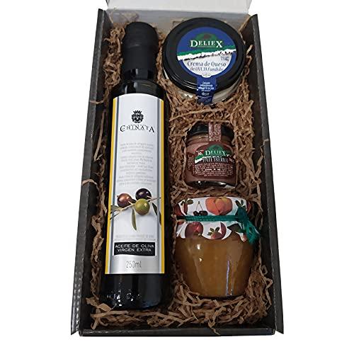 Cesta de productos gourmet para Navidad con aceite de oliva virgen extra 250 ml en vidrio, crema de queso de oveja natural 110 g, paté ibérico DELIEX en formato de 30 g y mermelada