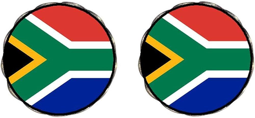 GiftJewelryShop Bronze Retro Style South Africa flag Photo Clip On Earrings Flower Earrings 12mm Diameter