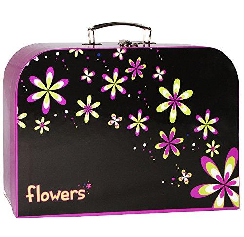 alles-meine.de GmbH Kinderkoffer -  Blumen / Blüten  - Groß - Puppenkoffer Koffer - Reisekoffer aus Pappe mit Metall Griff - für Kinder Mädchen Prinzessin / Schloß Märchen - Bl..